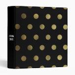 Glam Faux Gold Polka Dot Custom 3 Ring Binder
