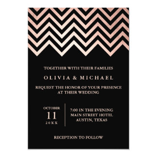 Glam Faux Rose Gold Chevron and Black Wedding Card