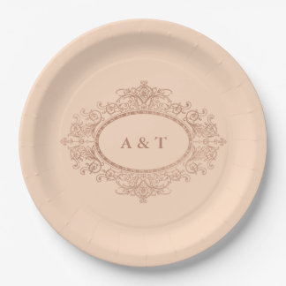 Glam Faux Rose Gold on Blush Pink Wedding Monogram Paper Plate