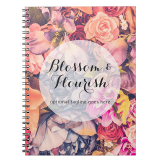 Glam Floral Roses Trendy Modern Florist & Boutique Notebooks