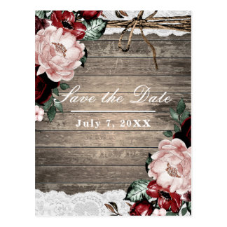 Glam Floral Rustic Wood & Lace Save the Date Postcard
