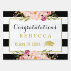 Glam Floral Stripes Congrats Grad Graduation Party Sign