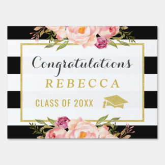 Glam Floral Stripes Congrats Grad Graduation Party Sign