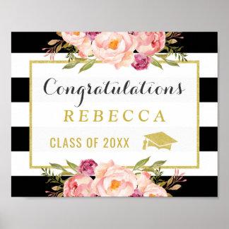 Glam Floral Stripes Congrats Grad Graduation Sign Poster