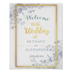 Glam Flowers Gold Frame Wedding Welcome Sign