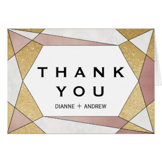 Glam Geometric Diamond Thank You Card