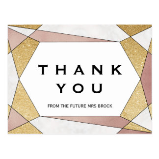 Glam Geometric Diamond Thank You Postcard