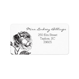 Glam Glitter Black and White Floral Address Label
