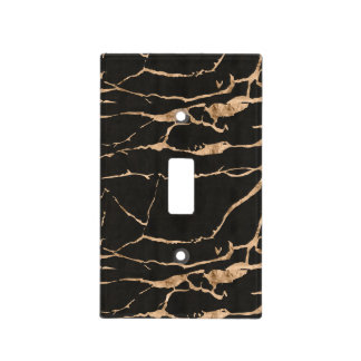 Glam Gold and Black Marble Effect Light Switch Cover