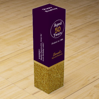 Glam Gold and Purple Custom Birthday Wine Box