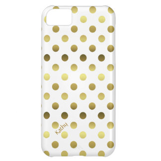 Glam Gold and White Polka Dot Cover For iPhone 5C