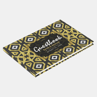 Glam Gold Black Geometry Pattern Wedding Guest Book