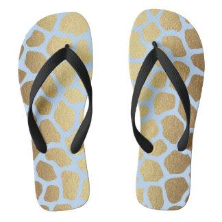 Glam Gold Blue Mint Black Zebra Skin Flip Flops