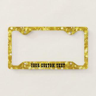 Glam Gold  Bokeh Glitter License Plate Frame
