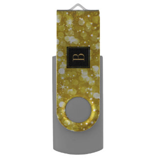 Glam Gold Bokeh Glitter Monogram USB Flash Drive