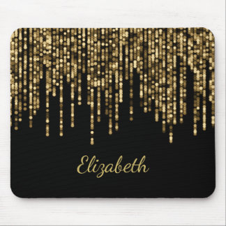 Glam Gold Bokeh String Lights Personalized Mouse Pad