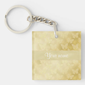 Glam Gold Butterflies Double-Sided Square Acrylic Keychain