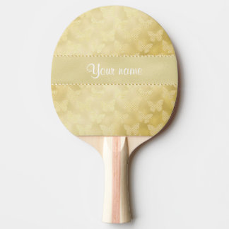 Glam Gold Butterflies Ping-Pong Paddle