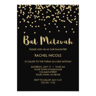 "Glam Gold Confetti Bat Mitzvah on Black 5"" X 7"" Invitation Card"