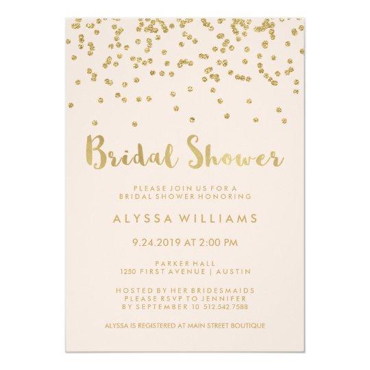 Glam Gold Confetti Bridal Shower on Blush Pink Card