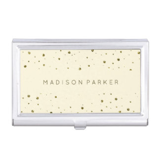 Glam Gold Dots on Ecru Case For Business Cards