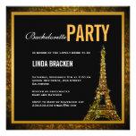 Glam Gold Eiffel Tower Bachelorette Invitation