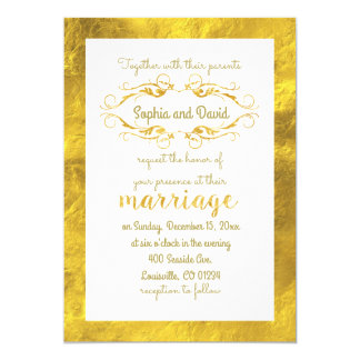 Glam Gold Foil and White Wedding Invitation