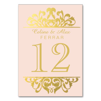 Glam Gold Foil Flourish Table Numbers | pink gold Table Card