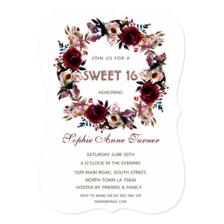 Glam Gold Glitter Blush Floral Sweet Sixteen Party Card