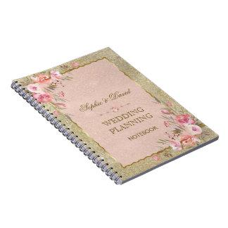 Glam Gold Glitter Blush Floral Wedding Planner Notebook