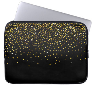 Glam gold glitter confetti laptop sleeve
