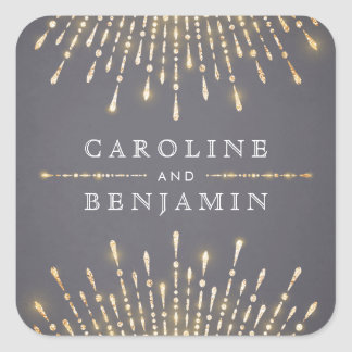 Glam gold glitter deco vintage wedding monogram square sticker
