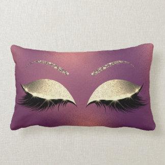 Glam Gold Glitter Glam Makeup Lashes Copper Lumbar Pillow