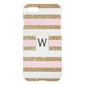 Glam Gold Glitter Look Stripes Clear iPhone 7 Case