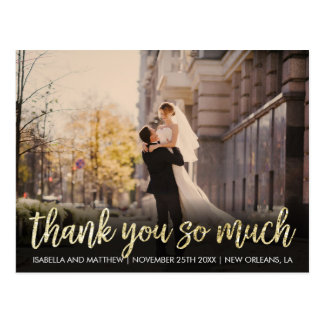 Glam Gold Glitter Thank You So Much Party Picture Postcard