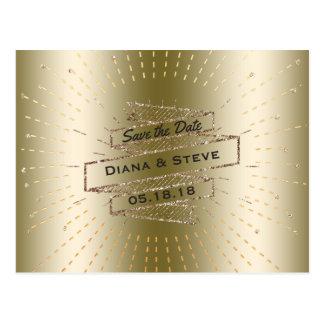 Glam Gold Glitter Wedding | Save the Date Glitz Postcard