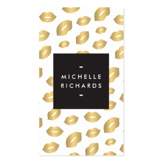 Glam Gold Lip Print II for Makeup Artists Business Card Templates