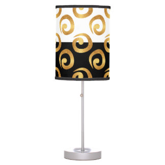 Glam Gold on Black and White Colorblock Table Lamp