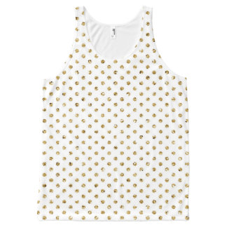 Glam Gold Polka Dot Patterned All-Over-Print Tank Top