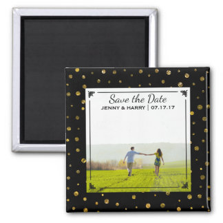 Glam Gold Polka Dots | Photo Wedding Save the Date Square Magnet