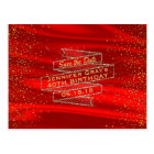 Glam Gold Red Save the Date Elegant Birthday Party Postcard