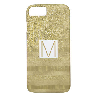 Glam Gold Sparkle Stripes Monogram iPhone 8/7 Case