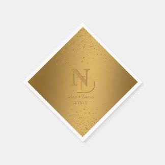Glam Gold Wedding Monogram Confetti Glitter Paper Napkins
