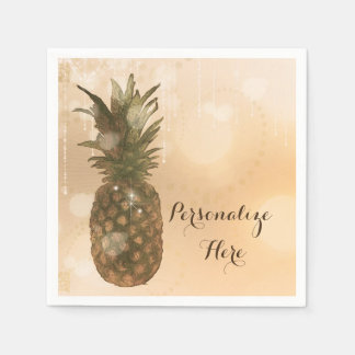 Glam Golden Pineapple Elegant Tropical Party Disposable Napkin