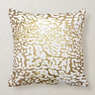 Glam Golden White Leopard Tiger Safari Skin Throw Pillow