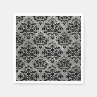 Glam Goth Mini Skull Damask Pattern Black Gray Disposable Napkins