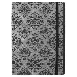 "Glam Goth Mini Skull Damask Pattern Black Gray iPad Pro 12.9"" Case"