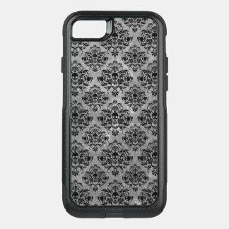 Glam Goth Mini Skull Damask Pattern Black Gray OtterBox Commuter iPhone 8/7 Case