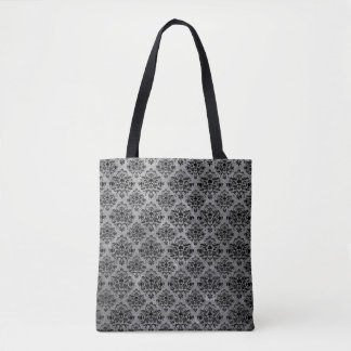Glam Goth Mini Skull Damask Pattern Black Gray Tote Bag