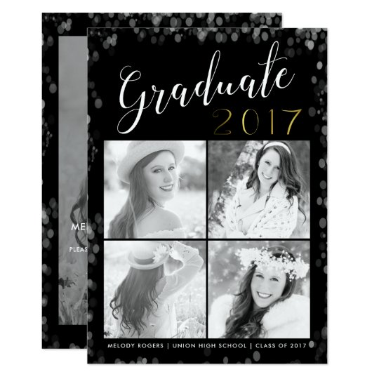 Glam Graduation Party Collage Photo Card